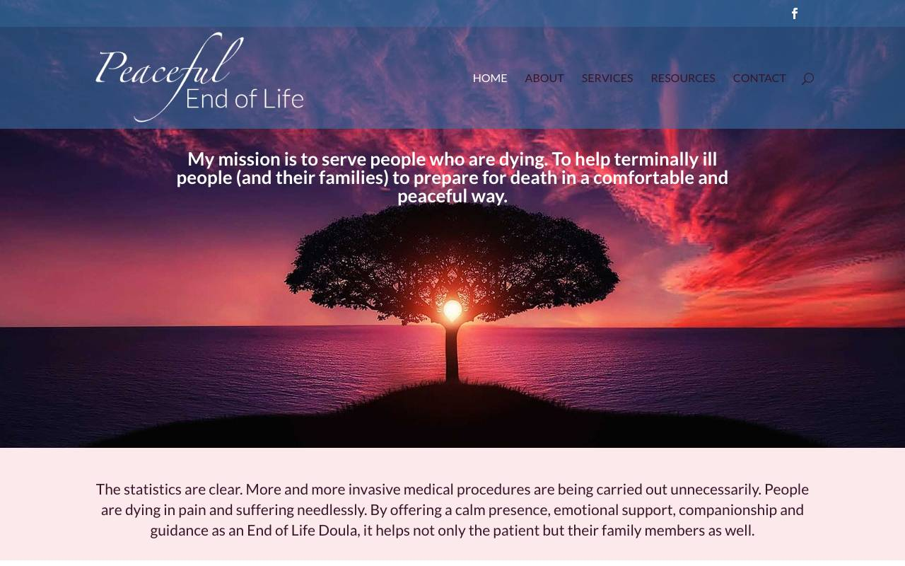 Non Profit Website Peaceful End of Life