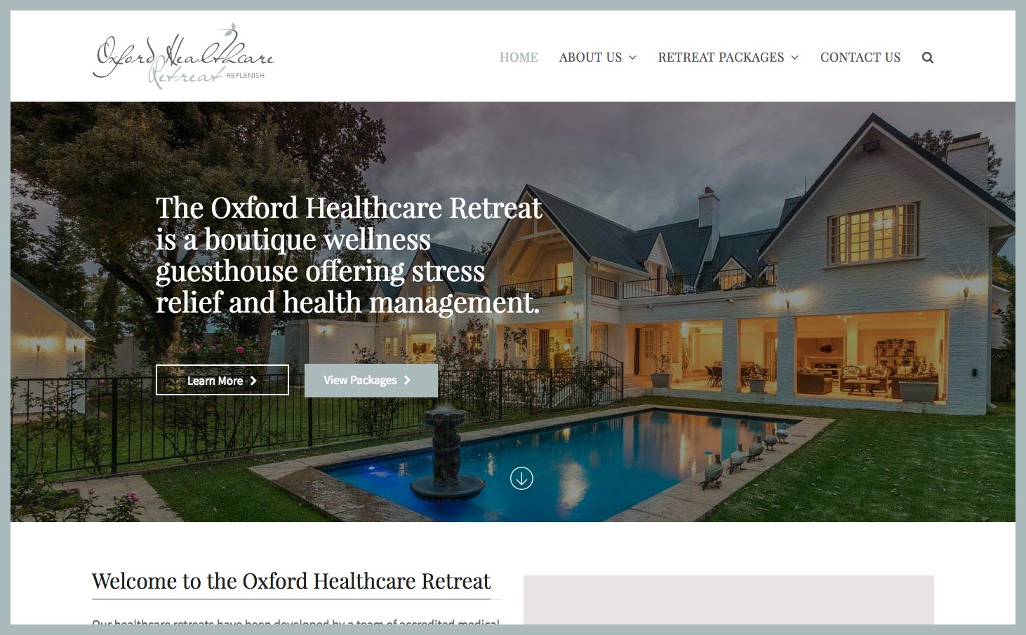 Healthcare Retreat Website Design